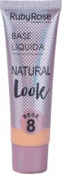 Base líquida Natural Look Ruby Rose Bege 08  - 8051
